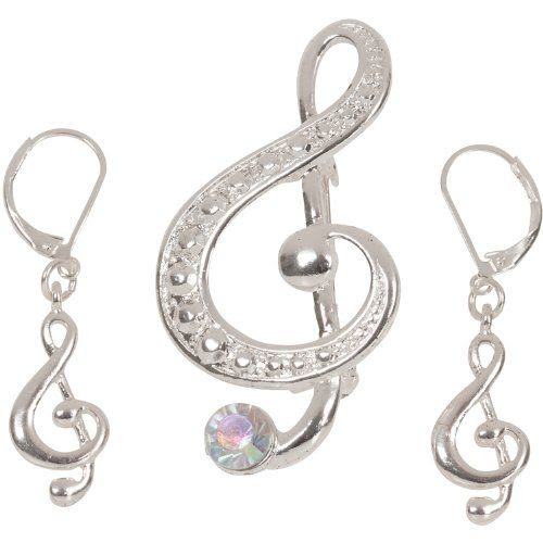 BACH BECKONS!! Heirloom Finds Large Silvertone Treble Clef Music Brooch Pendant Earring Set: Jewelry