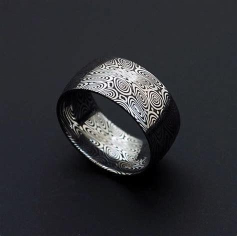 Véritable acier inoxydable acier Damas Mens Ring   largeur