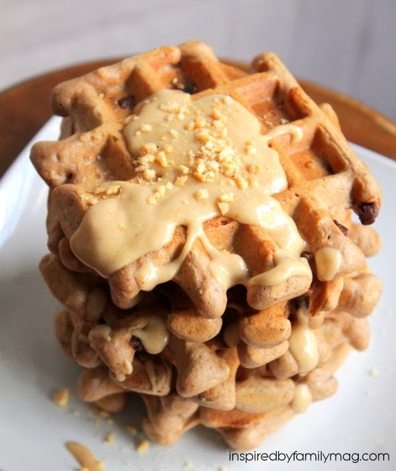 Healthy Chocolate Belgian Waffles with Peanut Butter Sauce