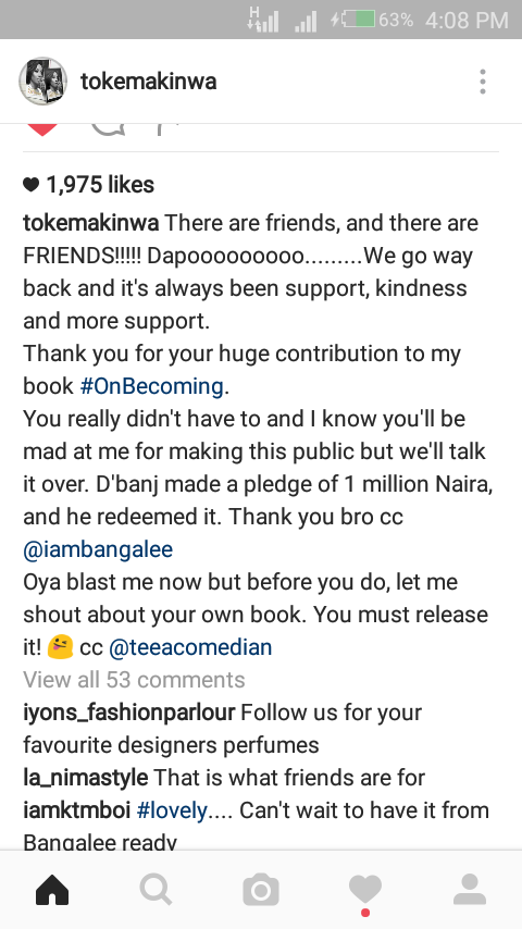 D'banj Donates N1m At Toke Makinwa's Book Launch And Redeems It (PHOTO)