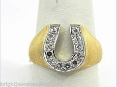 Men's 14k Yellow Gold Diamonds Horseshoe Ring   Bright Jewelers   Bright Jewelers