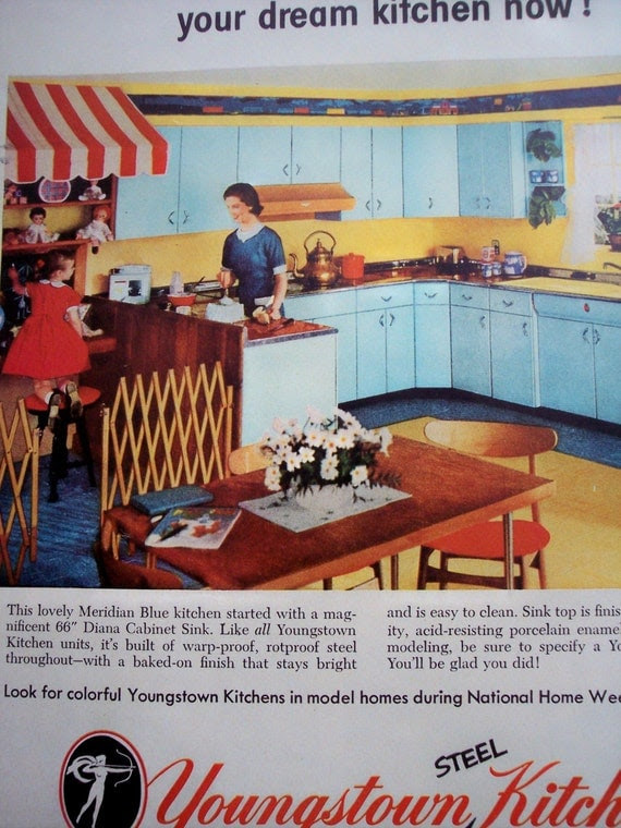 1950s home decor AD Youngstown Kitchens by AdmanVintageAds on Etsy