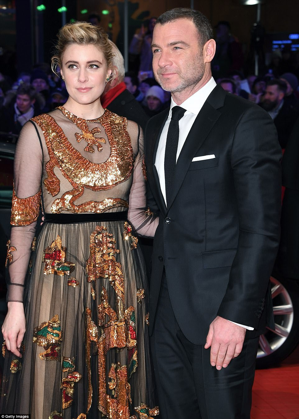 Side by side: The actress was joined by Liev Schreiber, who both lend their voice to the new animated adventure