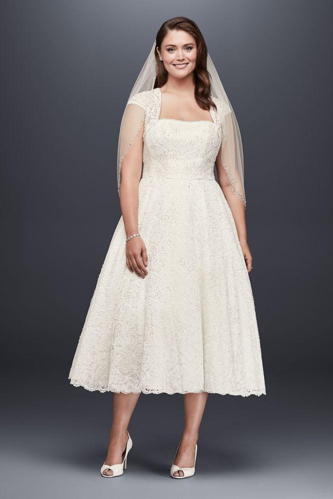 Davids-Bridal-Tea-Length-Plus-Size-Wedding-Dress-with ...
