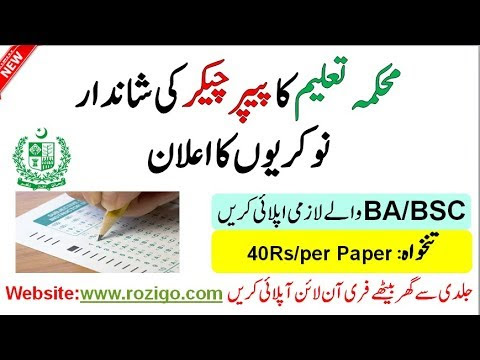 Paper Checking Jobs 2020 From BISE For Male & Female