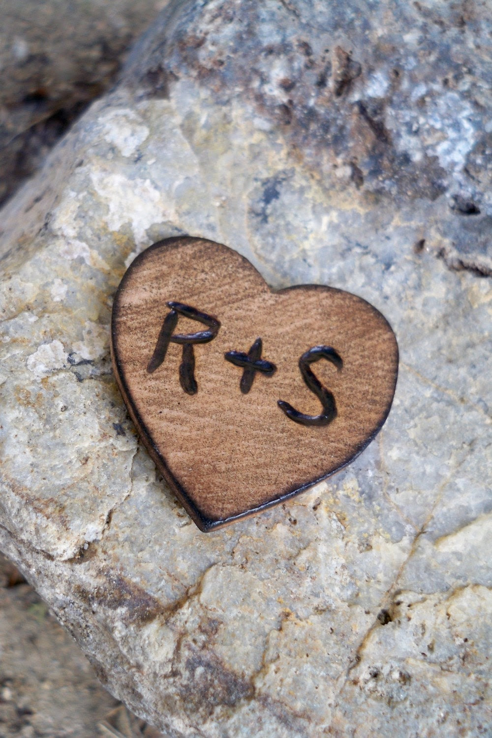 Mini Personalized pocket, wallet Valentine, love token for him or her, engraved wood heart, couples initials, wedding