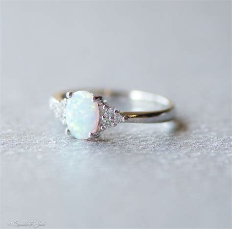 White Opal and CZ Accented Sterling Silver Ring   Stones