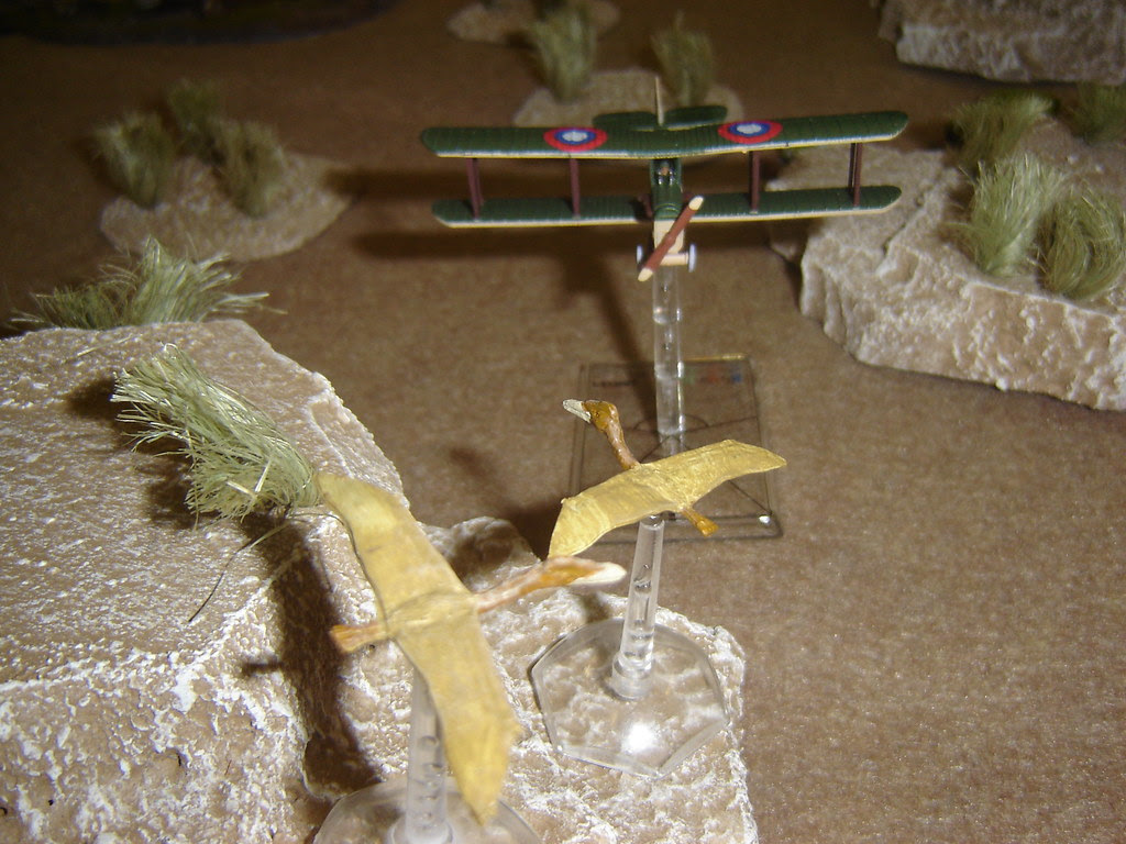 Pilot steers directly for Pteradactyls