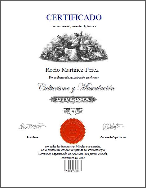 Certificado Diploma Culturismo y Musculacion