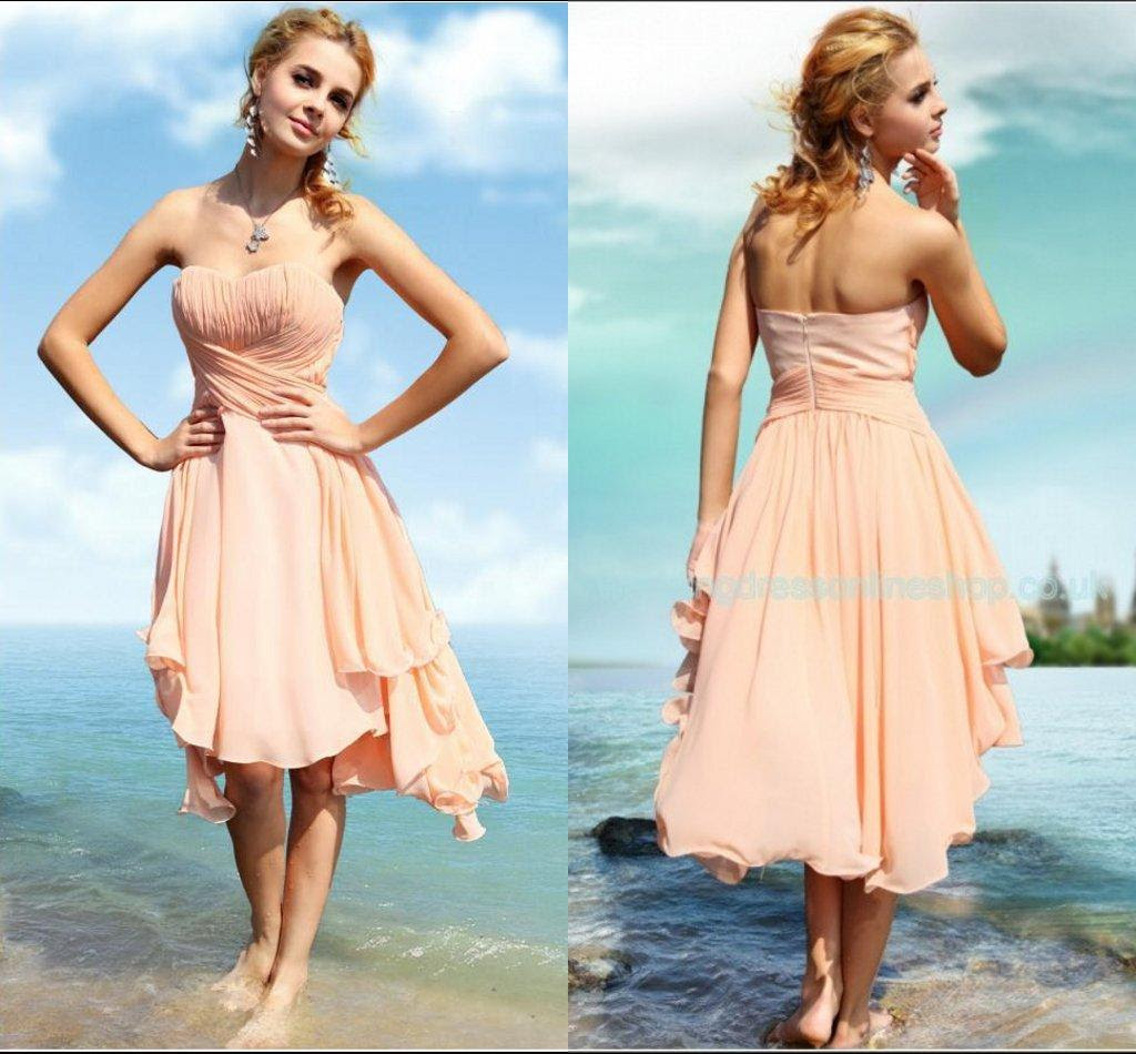 2015 spring beach wedding peach bridesmaid