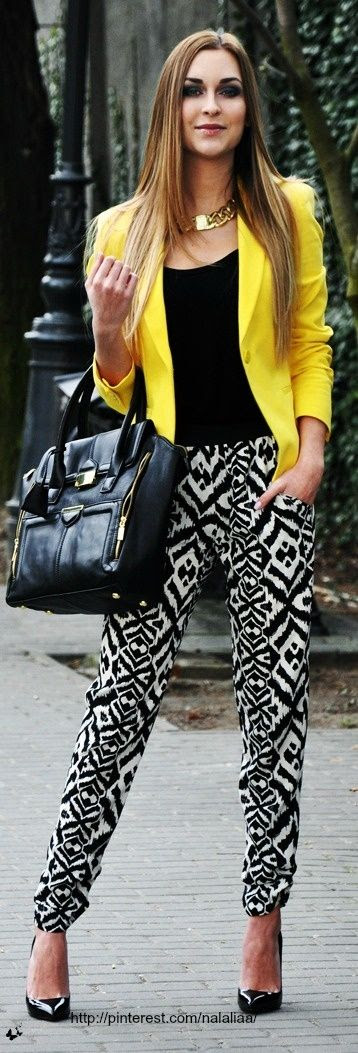 Yellow blazer and tribal print pants - street style