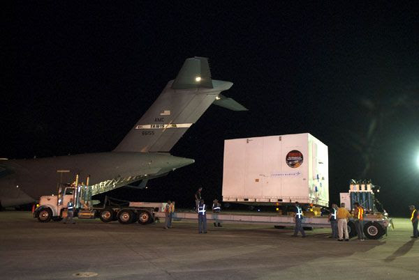NASA's MAVEN spacecraft is about to be transported to the Payload Hazardous Servicing Facility at the Kennedy Space Center in Florida...after arriving at the Space Coast to begin launch preps on August 2, 2013.