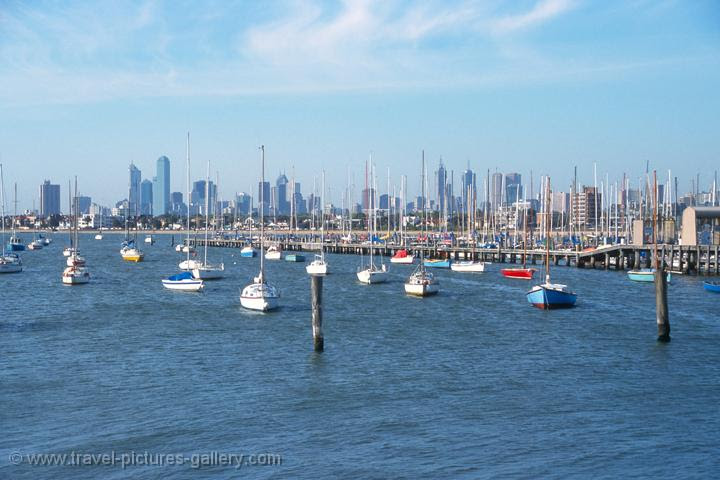 the marina with the city skyline, Melbourne