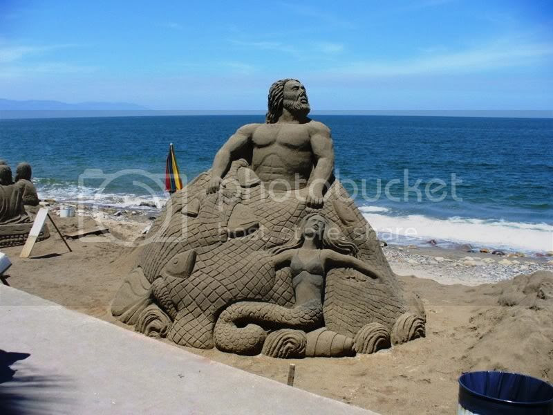 Sand sculpture, Poseidon Pictures, Images and Photos