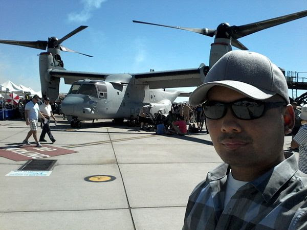 Taking a selfie in front of a V-22 Osprey at the Miramar Air Show...on September 24, 2016.