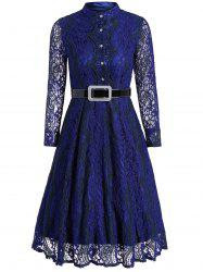 Vintage Button Long Sleeve Lace Midi Dress