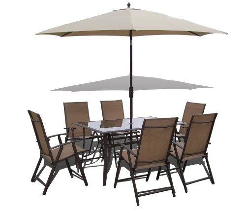 0n £ 8 Piece Santorini Garden and Patio Set 6 Chairs Table Tilt and Crank P