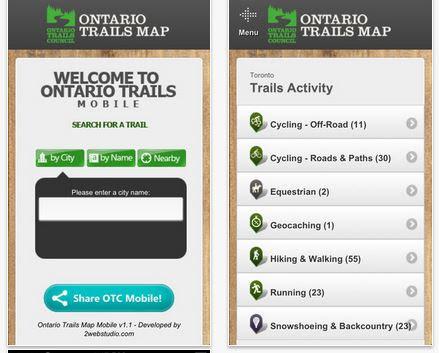 ontario trails mobile app