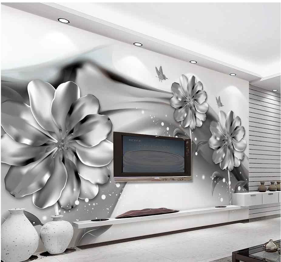 グレー壁紙 3d 壁の壁画の壁紙黒と白の花カスタム壁紙壁画 3d 壁紙