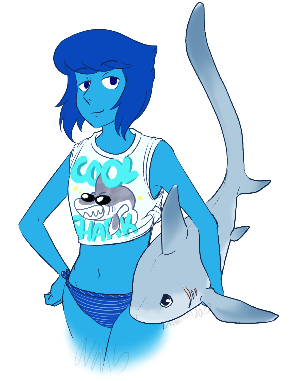 Lapis be ready for the beach and cool sharks