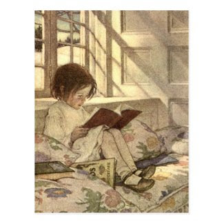 Vintage Child Reading a Book, Jessie Willcox Smith Postcard