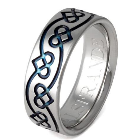 Titanium Irish Celtic Promise Rings ck35Blue ? Titanium