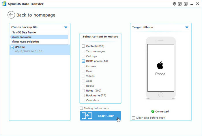 Restore iPod Files from iTunes Backup, iTunes Restore with Syncios