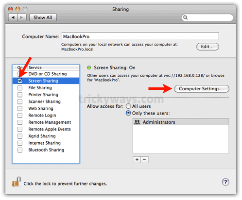 Enable monitor  sharing on mac