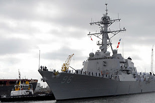 US warship in the Gulf of Aden near Somalia. The piracy of cargo ships have been a major source of distress for commercial tankers over the last several months. by Pan-African News Wire File Photos