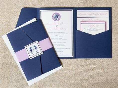 Elegant Nautical Pocket Fold Invitation (Navy and Pink)