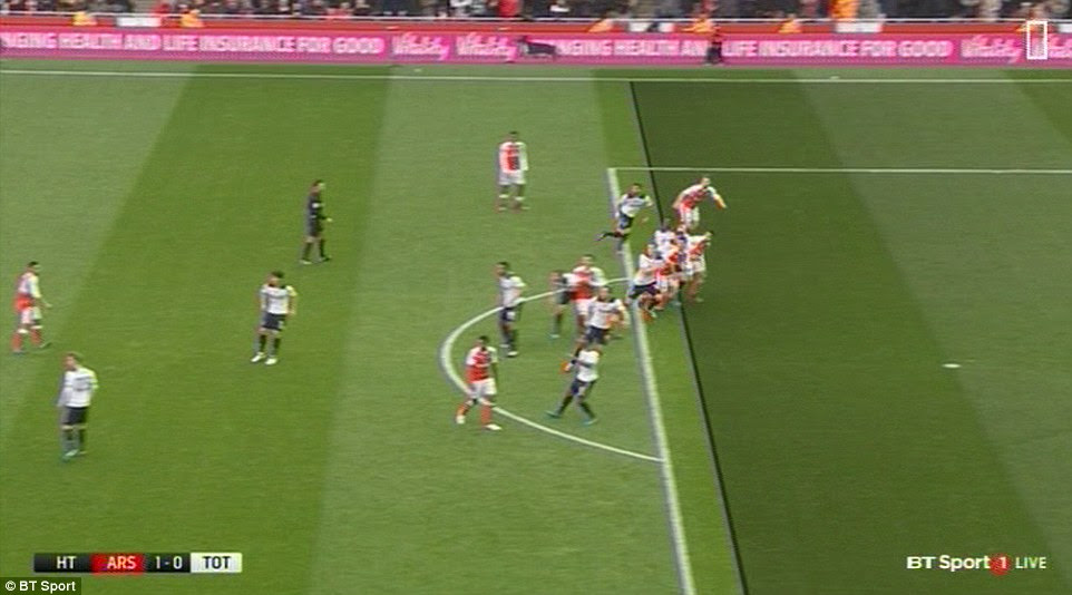 At least two Arsenal players appeared to be in an offside position when Ozil delivered a free-kick in the build up to the opener