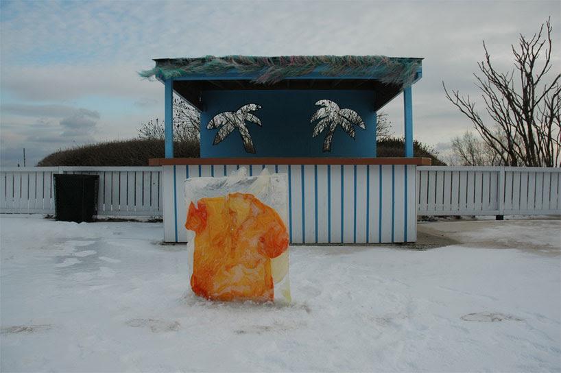 nicole dextras freezes garments in solid blocks of ice