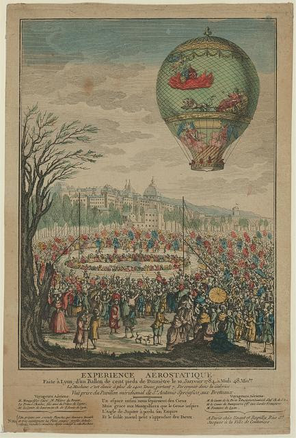 Experience aërostatique faite à Lyon; d'un ballon de cent pieds de diamètre le 10 [i.e. 19] janvier 1784, à midi 48 min[u]tes