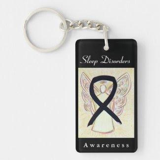 Sleep Disorders Awareness Ribbon Angel Key Chain