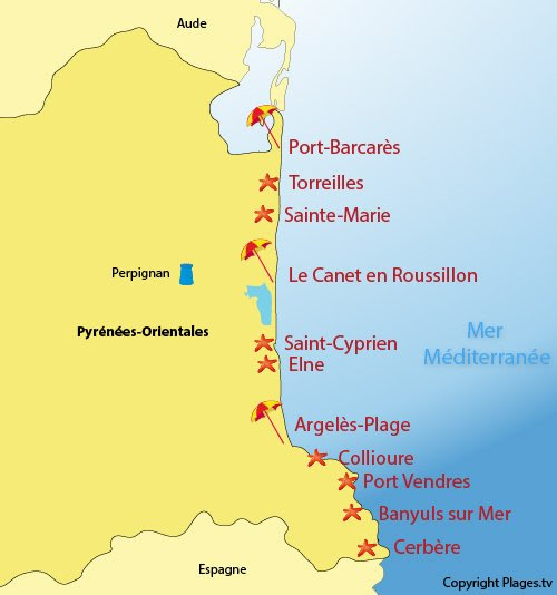 Carte des stations balnéaires et des plages des Pyrénées Orientales 66
