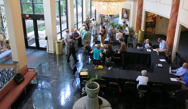IMG_1608-2013-06-29--Spivey-Hall-view-from-stair-and-grand-lobby-buffet-tables-Clayton-State-University