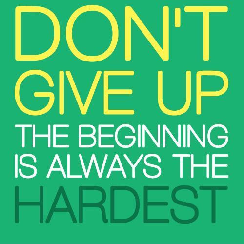 Dont Give Up The Beginning Is Always The Hardest Picture Quotes