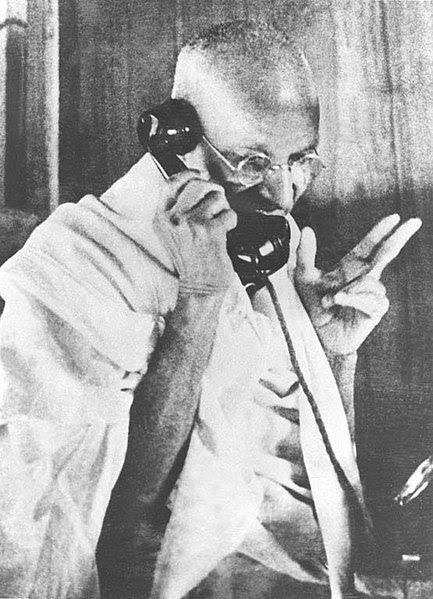 File:Gandhi telephoning.jpg