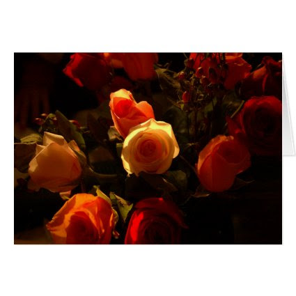 Roses I - Orange, Red and Gold Glory Card