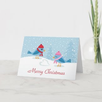 Love birds in the snow card