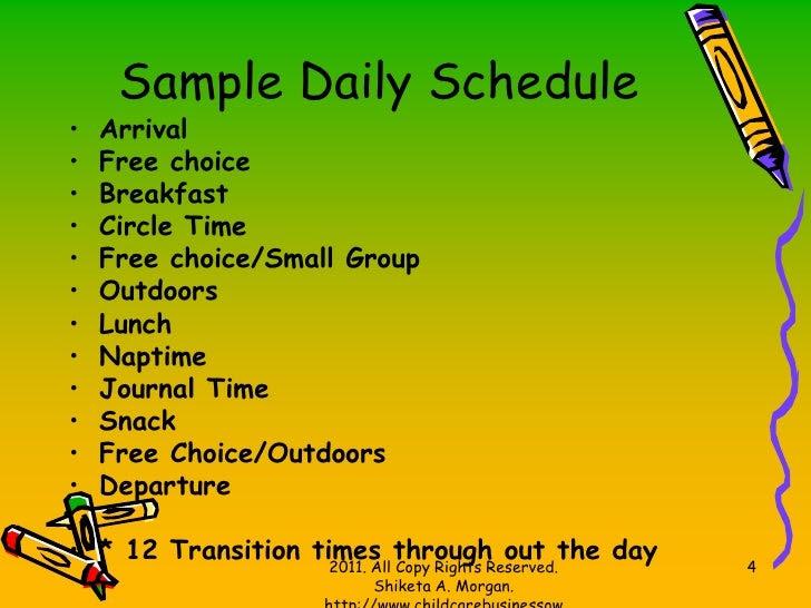 Daily Schedule Home Daycare   Daily Agenda Calendar