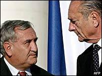 Jean-Pierre Raffarin og Jacques Chirac
