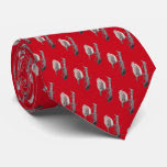 Christmas robin on tree branch illustration tie