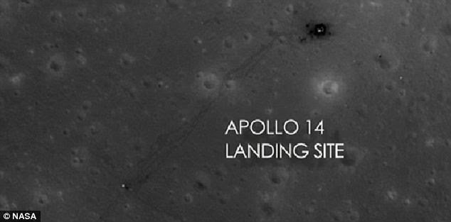 Touch down: The Apollo 14 landing site can be seen at the top of this photograph, complete with astronaut footprints leading away from it