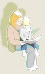 artwork of mother reading to child