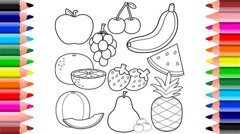 healthy fruits coloring pages  toddlers  kids