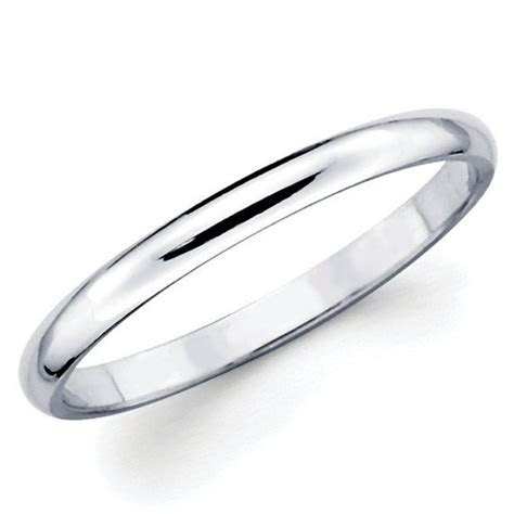 10K Solid White Gold 2mm Plain Wedding Band Ring   Random
