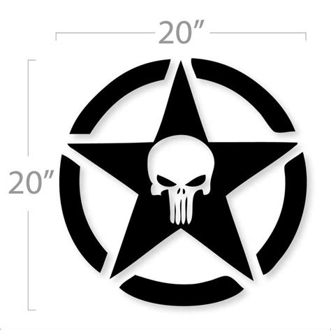 jeep punisher military star logo design decal sticker