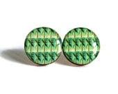 Team Fest Yule Basket Giveaway RESERVED Not For Sale Palm Tree Studs - resin jewelry post earrings florida green pop art bright handmade - WayfarerPrints