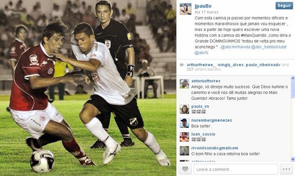 João Paulo usou o perfil no Instagram para anunciar volta ao clube que o projetou